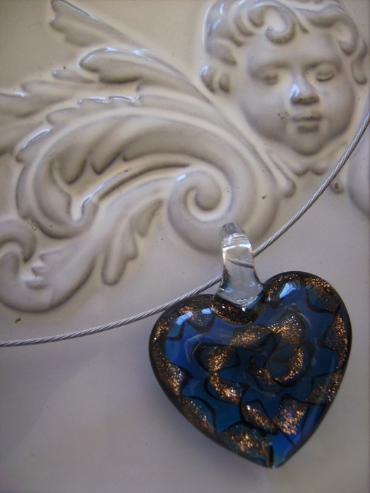 necklace with glass heart on cable wire necklace - by createddesignsbyrina on madeit