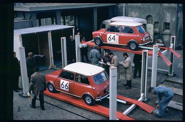 Scrutineering of rally Mini's before the off.