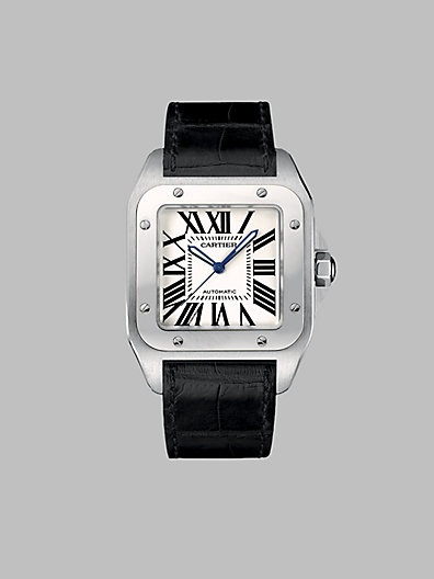 my dream gift to give Dad right before he walks me down the aisle! Cartier - Santos 100 Stainless Steel Watch on Strap, Large - Saks.com