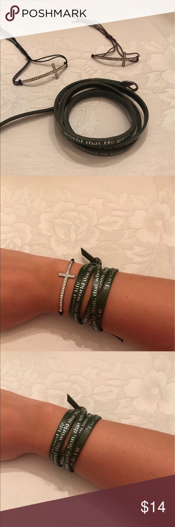 Bracelet Bundle Three Bracelets: 1) bronze cross adjustable bracelet with brown string 2) silver cross adjustable bracelet with black string 3) John 3:16 verse wrap bracelet in olive green. - All Bracelets are in great shape! Jewelry Bracelets