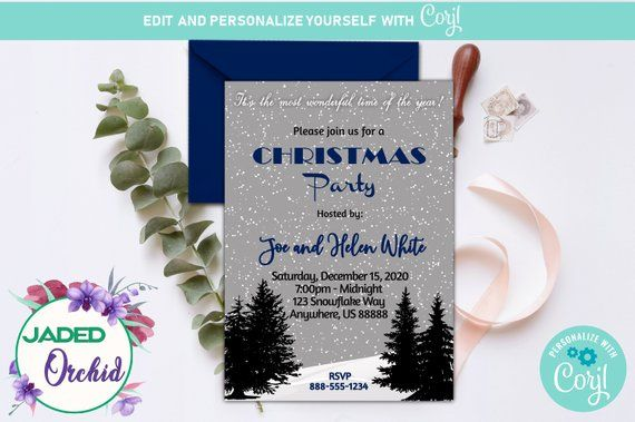 A Winter Snowy Christmas or Holiday Party Invitation Template You