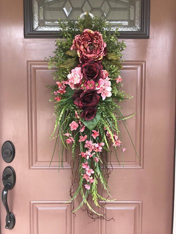 Front Door Swag Floral Swag Burgundy Door Decor Peony Swag