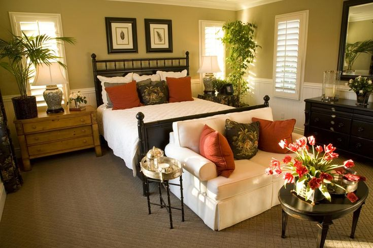 Bedrooms, Bright And Comfortable Bedroom With Chairs For Bedroom Sitting Area That Put Neatly With The Nice Arrangement With Some Cushions And Black Vanity And Some Fresh Flowers ~ The Comfortable And Cozy Chairs For Bedroom Sitting Area
