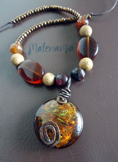 Choco riftaa oxidized copper wire, glass beads, agate stones, sequins - SOLD