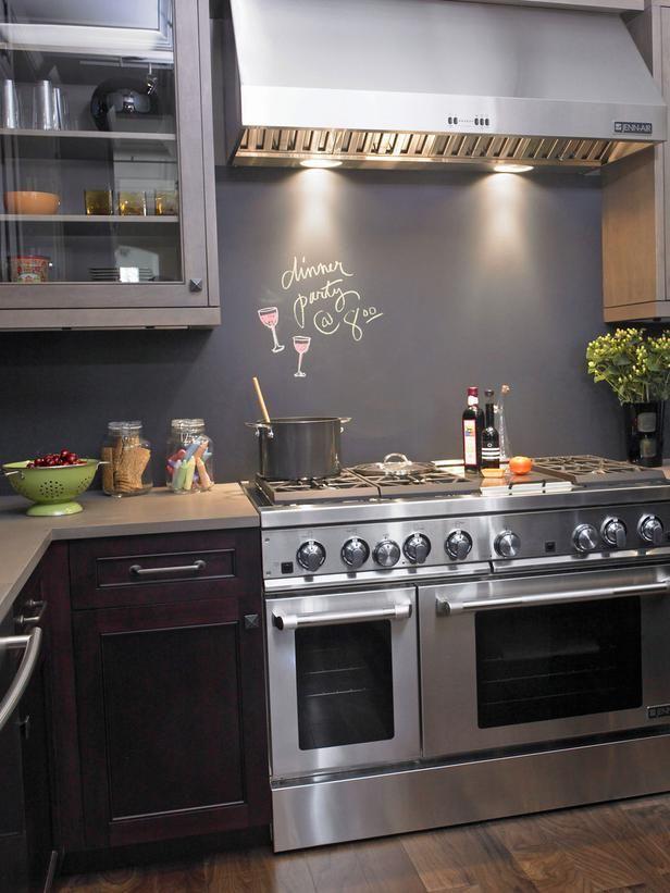 Unusual Materials: Chalkboard Paint in 30 Splashy Kitchen Backsplashes from HGTV