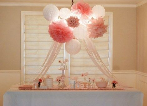 "Cluster of paper lanterns + tissue paper pom poms perfect for:    party decor   nursery decor   wedding decorbaby & bridal showers   photo shoots   store & window displays   children's rooms   baby mobiles    Set includes:   2 white lanterns  2 large poms 16""   3 medium poms 14""   2 small poms 9""..."