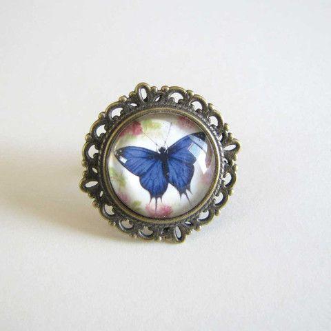Statement Ring - Blue Butterfly only $5 @ OMG! Cute Kitten - Australian Handmade Jewellery