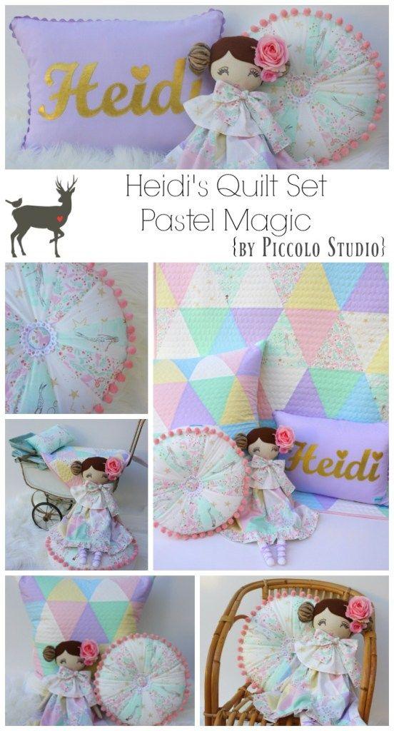 Pastel triangle quilt set made by www.piccolostudio.com.au