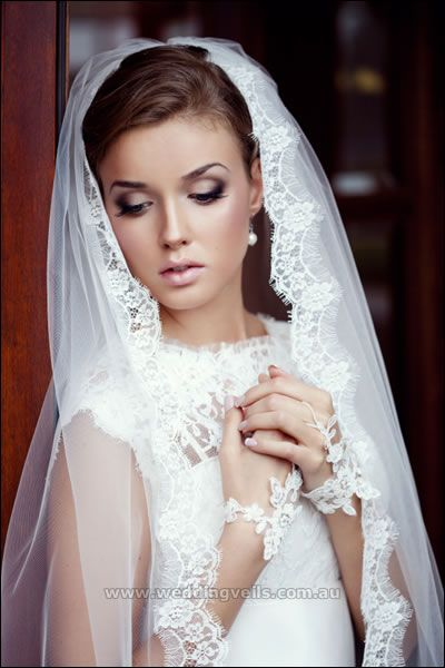 bridal veils made in France | Estelle Mantilla Veil - Wedding Veils Australia