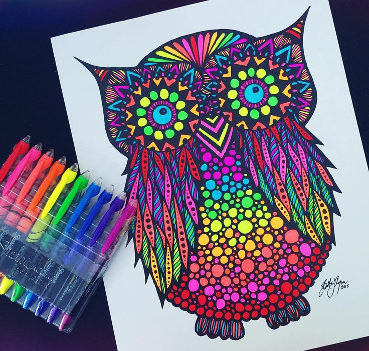 Sitting At My Art Show And Adding A Little Color To Owl I Did Back