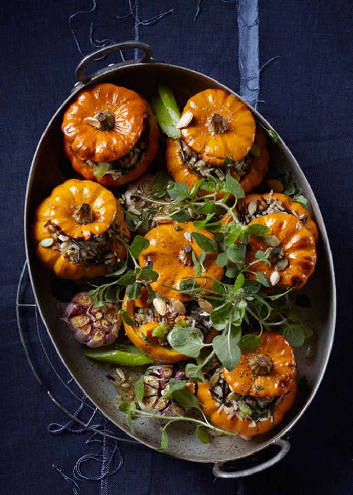Baked- wild rice stuffed mini pumpkins A beautiful #Thanksgiving treat!