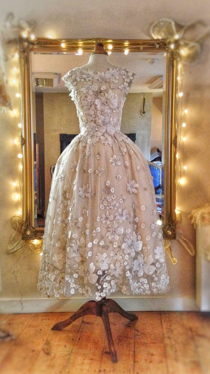 'Tamara' flower embellished Ivory silk tea length wedding dress by Joann…