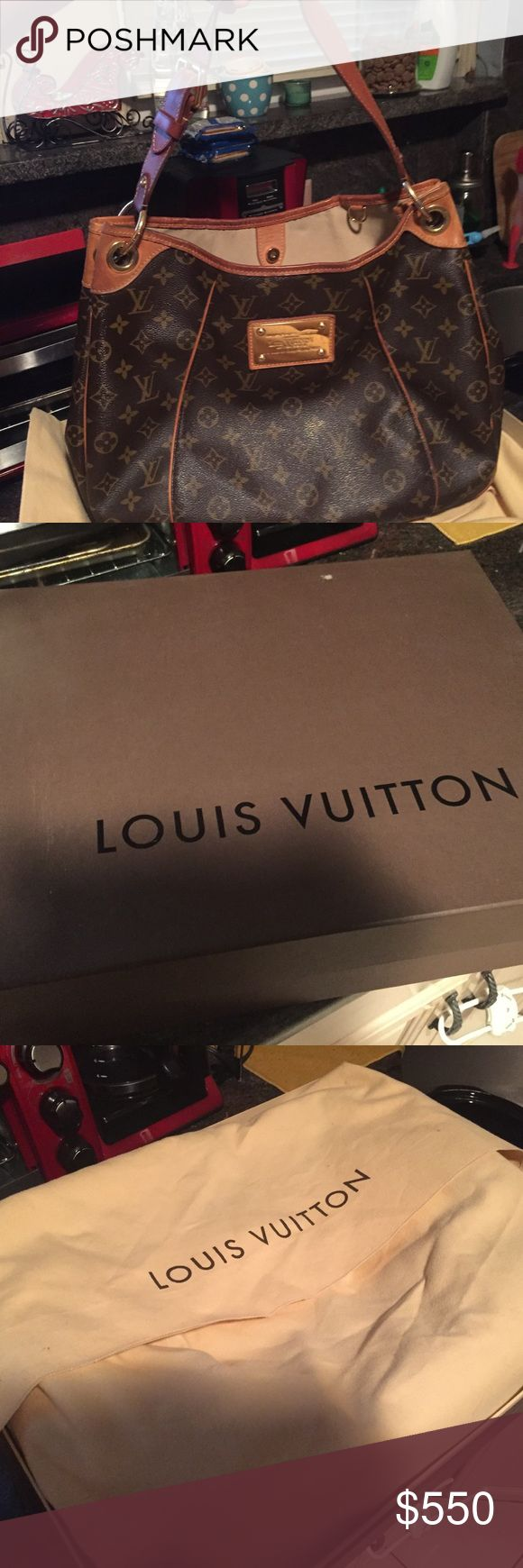 PRICE REDUCED! AUTHENTIC Louis Vuitton Galleria PM Louis Vuitton Galleria PM, used, good condition. Original box and dust bag included. Small tear in leather and small stain inside (see photos) Can provide additional photos if needed. Louis Vuitton Bags Shoulder Bags