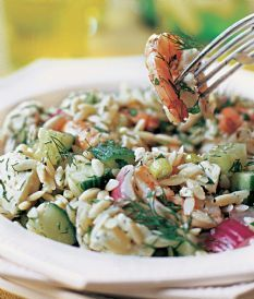 Barefoot Contessa Roasted Shrimp and Orzo Salad. Make this for a summer cookout. People will beg you for the recipe!