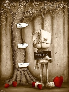 Fabio Napoleoni. The space in this artwork creates a sense of sorrow and remorse. The borders he creates are  emotional , because his characters border an emotional breakdown or even insanity.