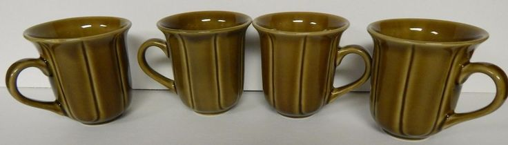 (4) Reto STONEWARE Coffee Tea MUGS 214 WEST Green Brown Vintage Line Pattern  #214WEST