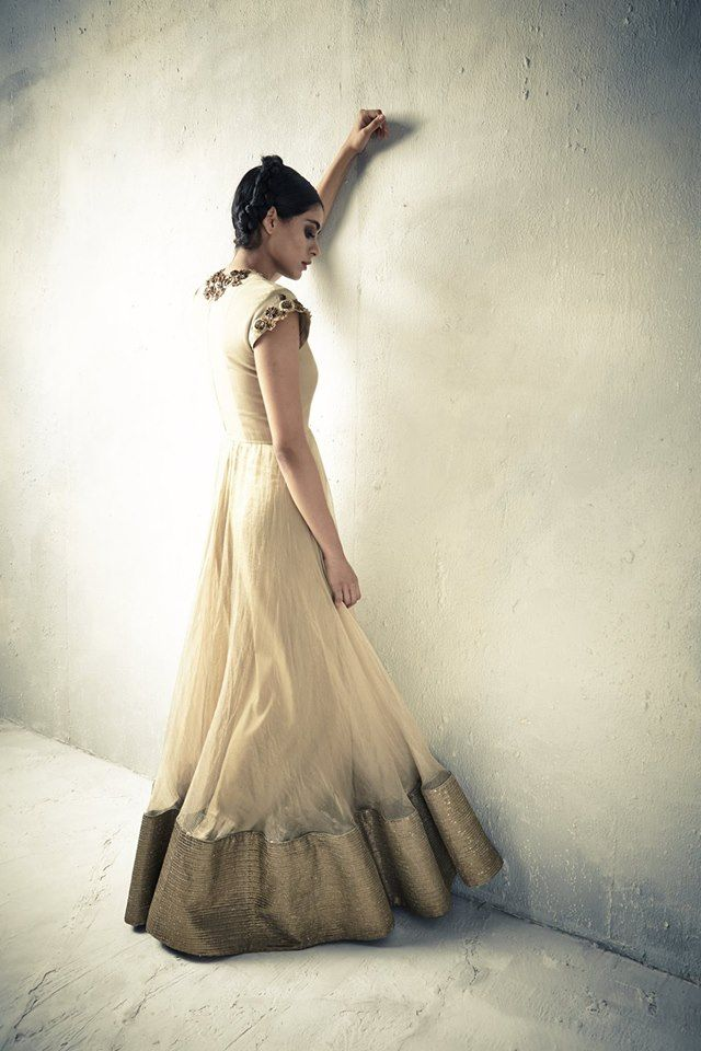 Cream #Anarkali With Gold Border.