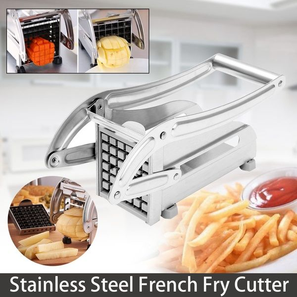 Stainless Steel French Fry Cutter Potato Vegetable Slicer Chopper Dicer w//2Blade