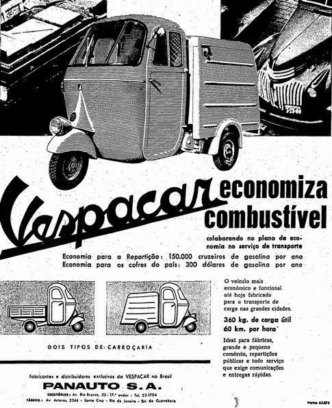 Propaganda do veículo híbrido de moto com carro, nos anos 60: Vespacar.