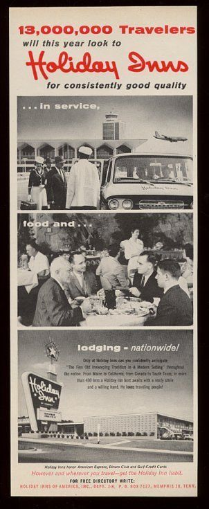 1964 Holiday Inn motel Chevy shuttle bus restaurant sign photo vintage print ad   Collectibles, Advertising, Hotel & Motel   eBay!