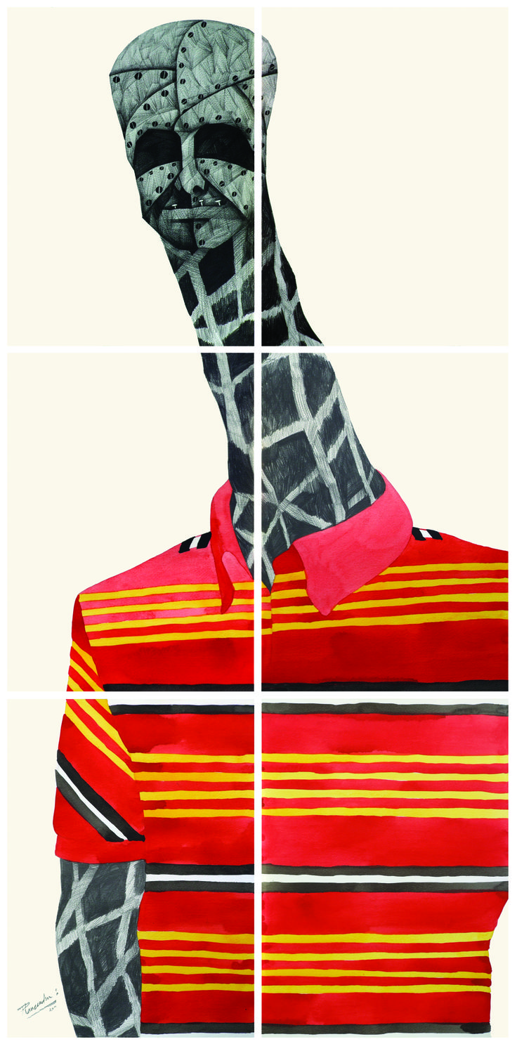 'G' for Giraffe, by Phaneendra Nath Chaturvedi Pencil & Water Colour on Archival Paper, 22 X 45 inc., Work in 6 Units  (each unit 11 X 15 inc.), 2011 — in Gurgaon.