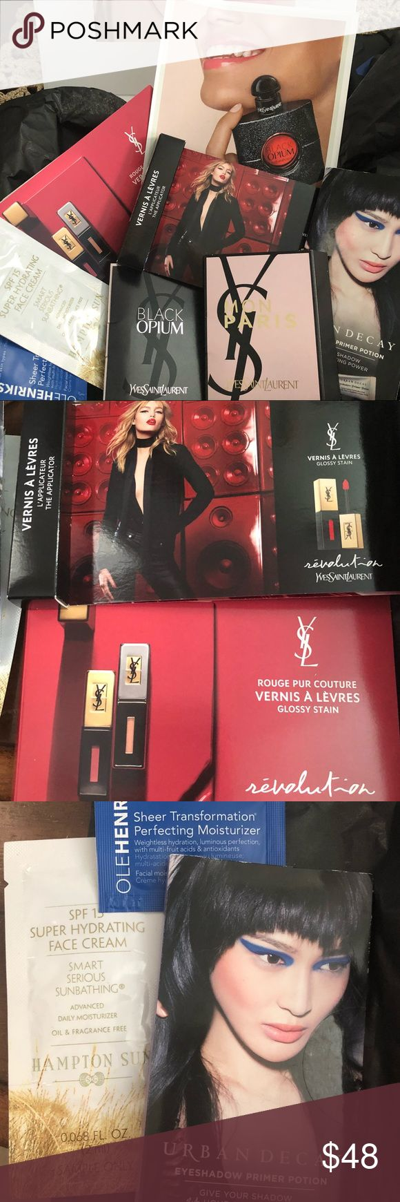 YSL samples box🎁 New YSL beauty samples, includes: 1 black opium stick lift to experience, 1 Glossy stain vernis #7, 9, 12, 47, 48, #51 with applicator, 1 Rouge # 12, 105, #200 with applicator, 1 Black Opium vial, 1 Mon Paris perfume vial, also 3 extra samples from Sephora (1 Hampton Sun SPF15 super hydrating face cream, 1 Ole Henriksen perfecting moisturizer, 1 Urban Decay eyeshadow primer potion original, eden, sin, anti aging everything comes in this beautiful magnetic box❤️💃🏻 Yves…