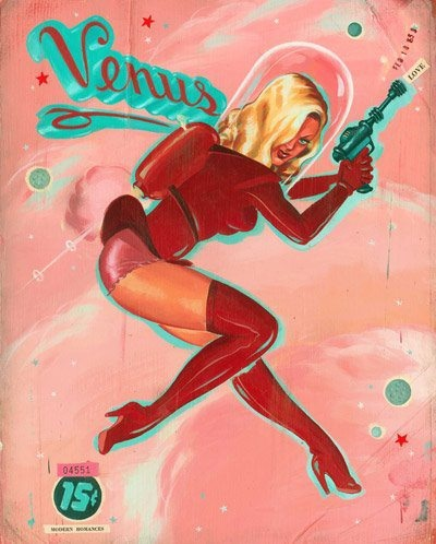Painting by Ryan Heshka.: Colors Combos, Vintage Space, Retro Scifi, Pinup Pi, Retro Spaces, Spacegirl, Sci Fi, Spaces Girls, Spaces Pinup