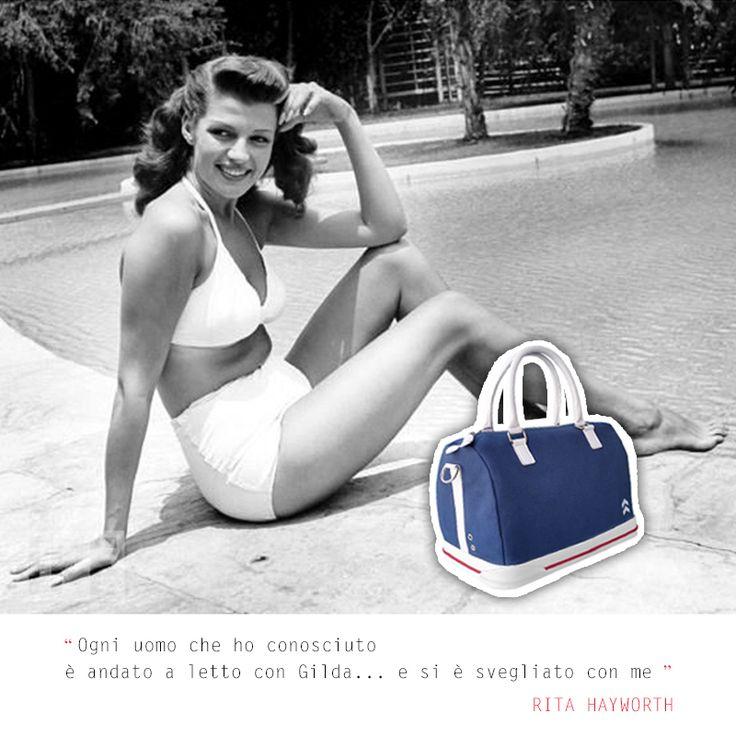 Ogni uomo che ho conosciuto è andato a letto con Gilda... e si è svegliato con me. #ritahayworth #aforismi #fashion #style #bags #borse #bauletto #sneakers #sneakbag