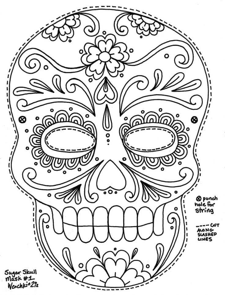 Free Printable Sugar Skull Day of the Dead Mask. Could use to make sugar skull cookies designs with my kopykake.