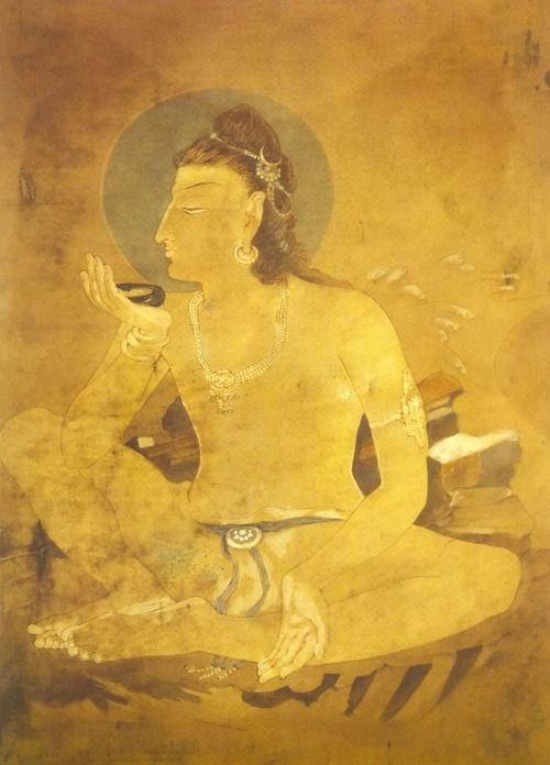 I love this one    adamlichi:    Siva drinking world poison-by Nadalal Bose