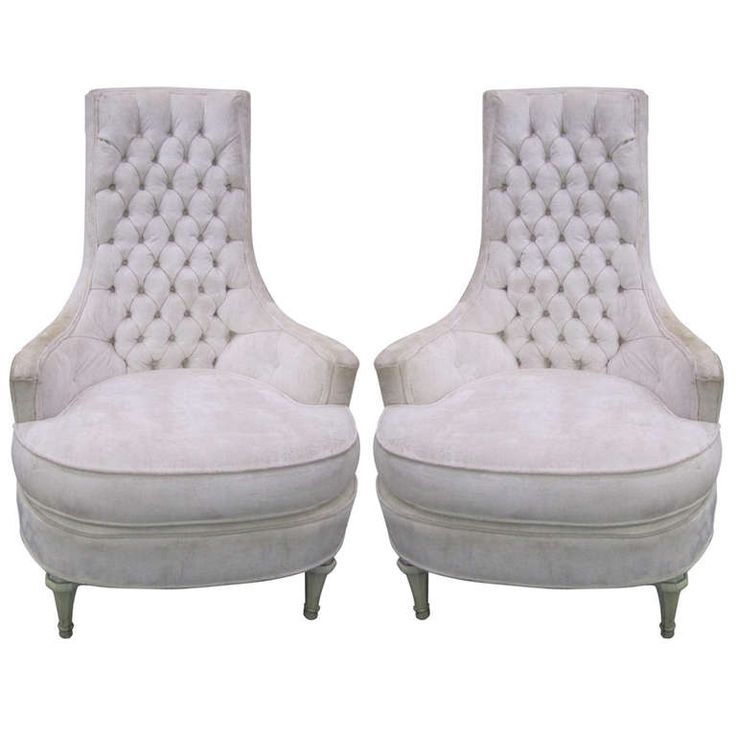 Fabulous Pair Of Hollywood Regency Tufted High Back Chairs