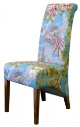Charming Modern Rollback Dining Chair   In Sanderson Borocay Damson fabric