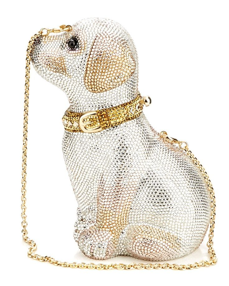 Judith Leiber 'Puppy' Crystal Clutch Premium designer outlet online boutique at luxlu.com