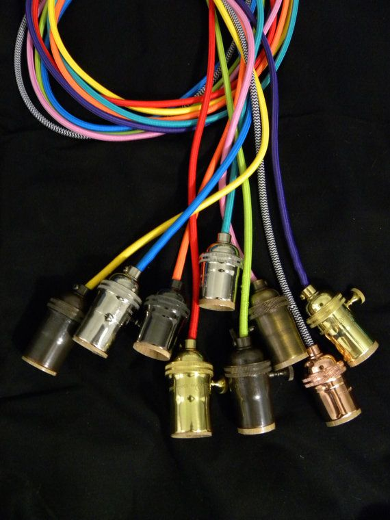 Custom 9 Pendant Light Cluster  ANY Cord Colors, ANY Hardware Finishes and ANY Cord LENGTHS. Choices shown in listing photos HOW TO ORDER: Select from suggested pendant colors or choose CUSTOM and leave us a note during checkout to specify your COLOR choices and LENGTH specifications. Ceiling Plate color and any additional details should also be specified in the checkout notes. BULBS: We now carry LED bulbs! Use the drop-down menu on the right to see pricing for different bulb options…