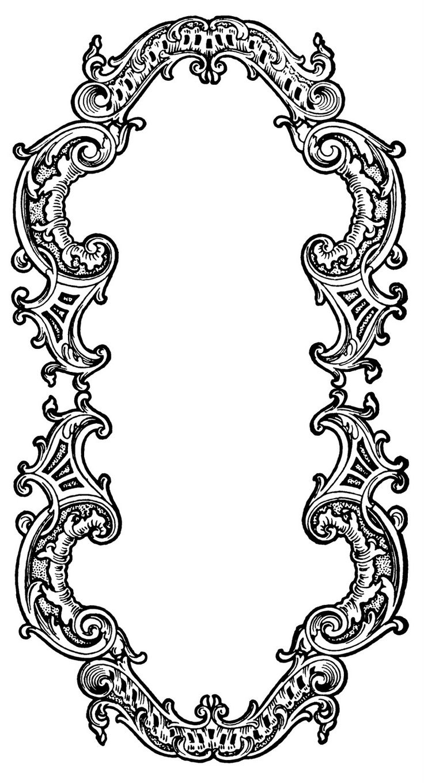 Detailed, ornate oval frame