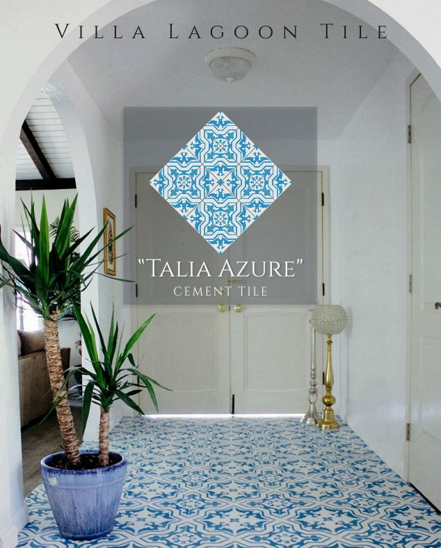 """This traditional cement tile pattern we call """"Talia"""" is beautifully balanced. While the core motif is a repeating angular cross and its inverse, the geometric base is offset by floral and organic flourishes. The White and bright blue """"Azure"""" make for a bright and cheerful covering, great for finishing off the perfect white kitchen or bathroom."""