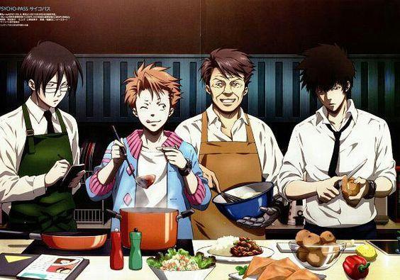 PSYCHO-PASS, Ginosa Nobuchika, Kagari Shuusei, Masaoka Tomomi, Kogami Shinya, Cooking