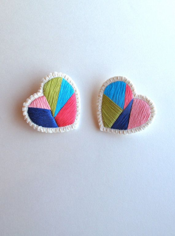 Embroidered heart brooch pair with geometric designs by #AnAstridEndeavor