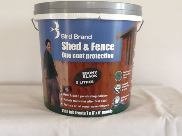 5 LITRE EBONY BLACK STAIN PAINT ONE COAT PROTECTION FOR SHEDS AND FENCES | eBay