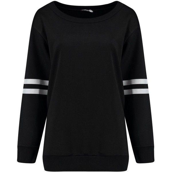 Rose Baseball Stripe Oversized Sweat ($2.94) ❤ liked on Polyvore featuring tops, hoodies, sweatshirts, baseball sweatshirts, stripe top, striped sweatshirt, oversized tops and oversized sweatshirt