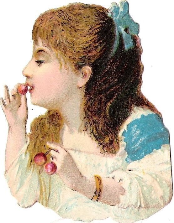 Oblaten Glanzbild scrap die cut chromo Kind child lady Kirsche cherry enfant