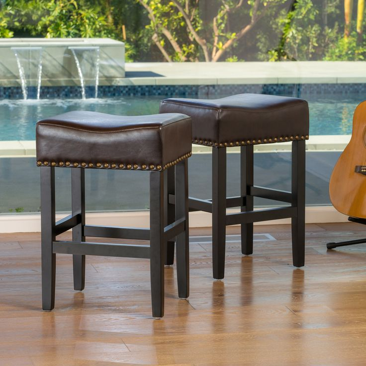 Chantal Brown Backless Leather Counter Stool (Set of 2)