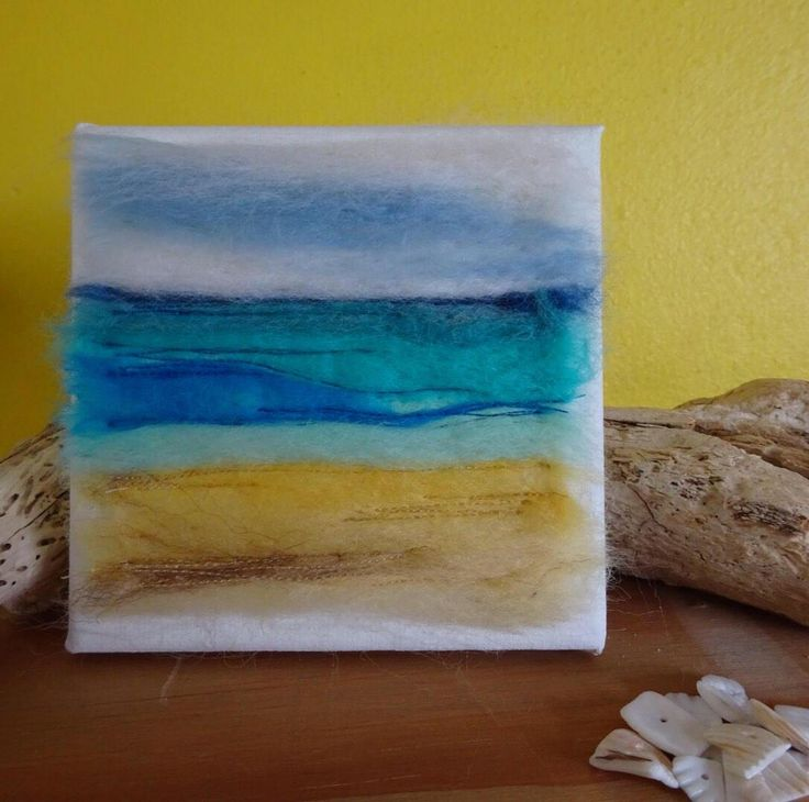 A personal favourite from my Etsy shop https://www.etsy.com/uk/listing/518822749/beach-canvas-sea-canvas-beach-art-felted