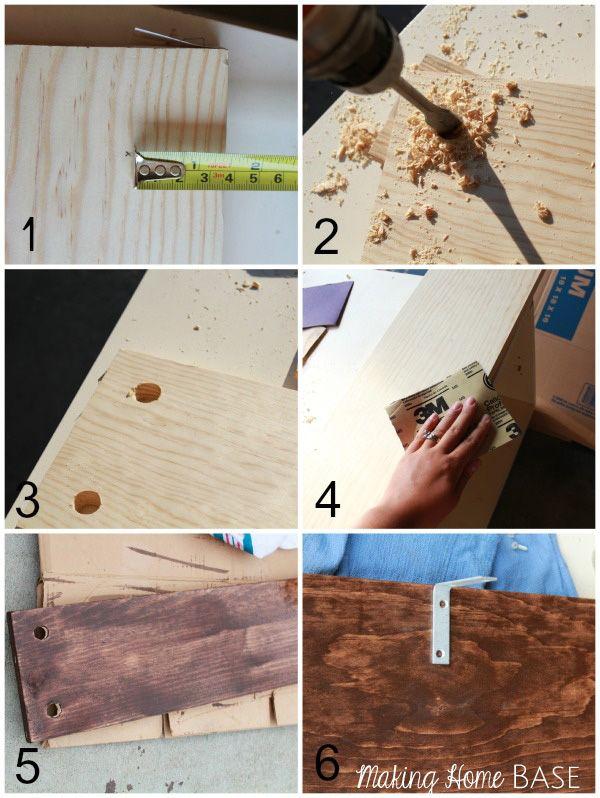 DIY Rustic Shelves Tutorial 1 1×8 8 foot board cut into two equal pieces or 2 1×8 4 foot boards