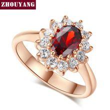 Top Quality ZYR187 Criado Rubi Cristal Vermelho Anel de Casamento Rose Banhado A Ouro Cristais Austríacos Completa Tamanhos Atacado(China (Mainland))