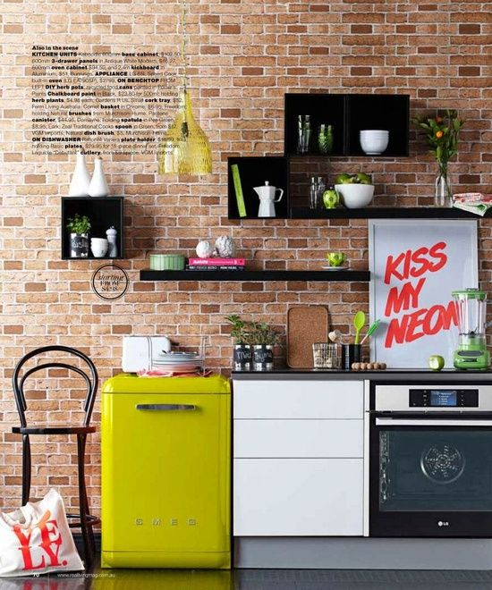 exp brick w/ pop of color - think CH homes. yellow fridge