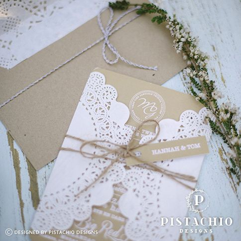 Letter damour wedding invitation with laser cut cover and cord with name tag made by www.pistachiodesigns.co.za