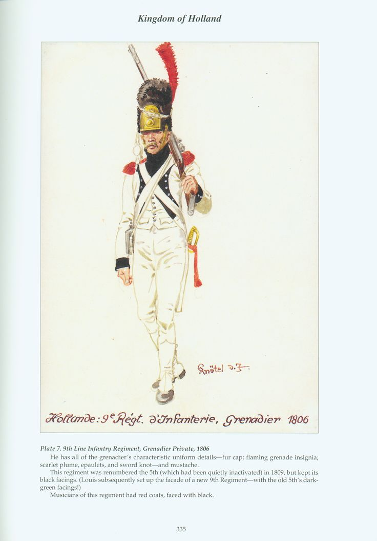 Kingdom of Holland: Plate 7. 9th Line Infantry Regiment, Grenadier Private, 1806