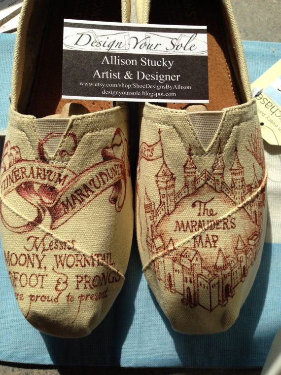 Manage mischief in this Harry Potter-themed pair:   33 Pairs Of Unbelievably Beautiful Custom TOMS