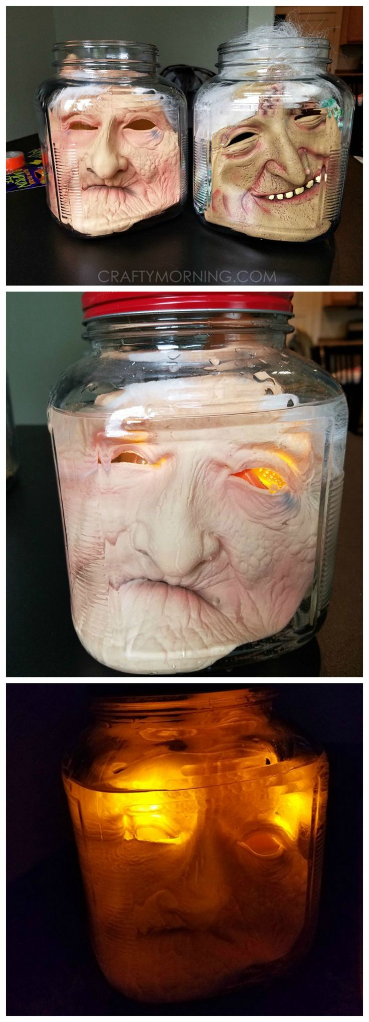 How to make creepy heads in jars using masks! Such a fun halloween decoration to…